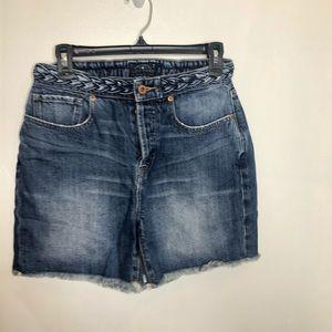 Lucky Brand Braided Waist Denim Midi Shorts